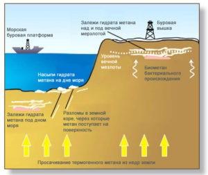 Образование и залежи гидрата метана
